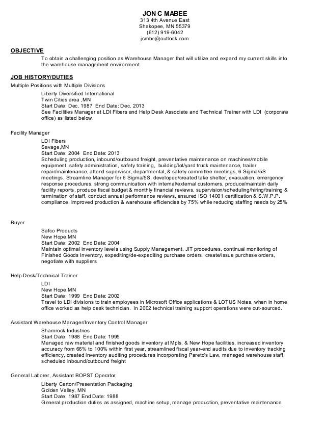 6 Resume Objective for Warehouse Position Sample Resumes - resume objective for manufacturing
