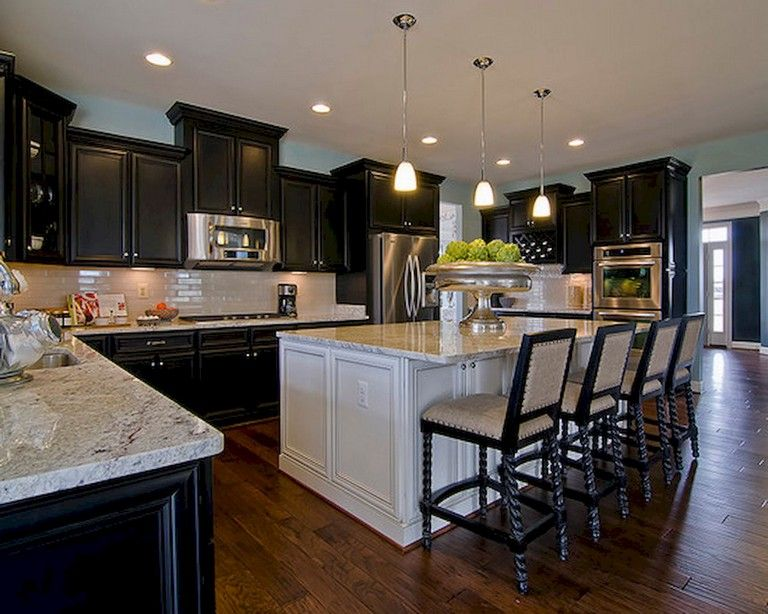59+ Marvelous Black Kitchen Cabinets Design Ideas #darkkitchencabinets