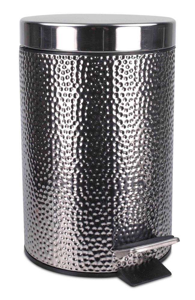 Home Basics New Stainless Steel Hammered Waste Bin Trash Garbage Can Wb41272 886466412720 Ebay Stainless Steel Bathroom Accessories Stainless Steel Bathroom Home Basics