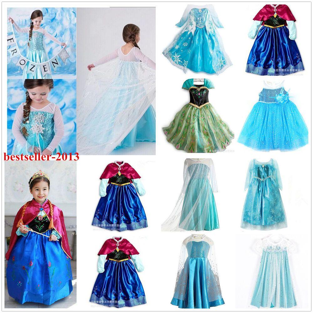 Kids Girls Dresses Disney Elsa Frozen dress costume Princess Anna ...