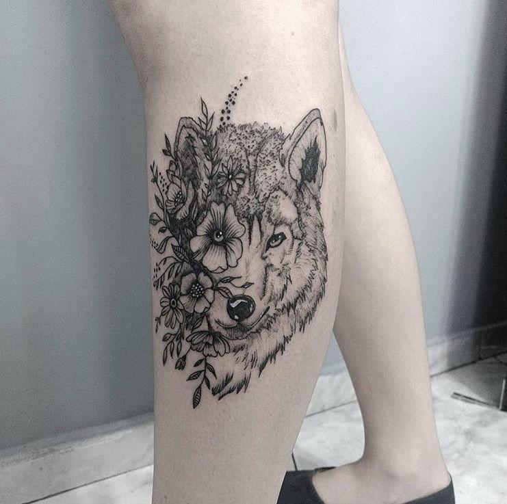 26500fd24 Wolf - half flower, half wolf | Tattoo by mmariahlui from IG ...