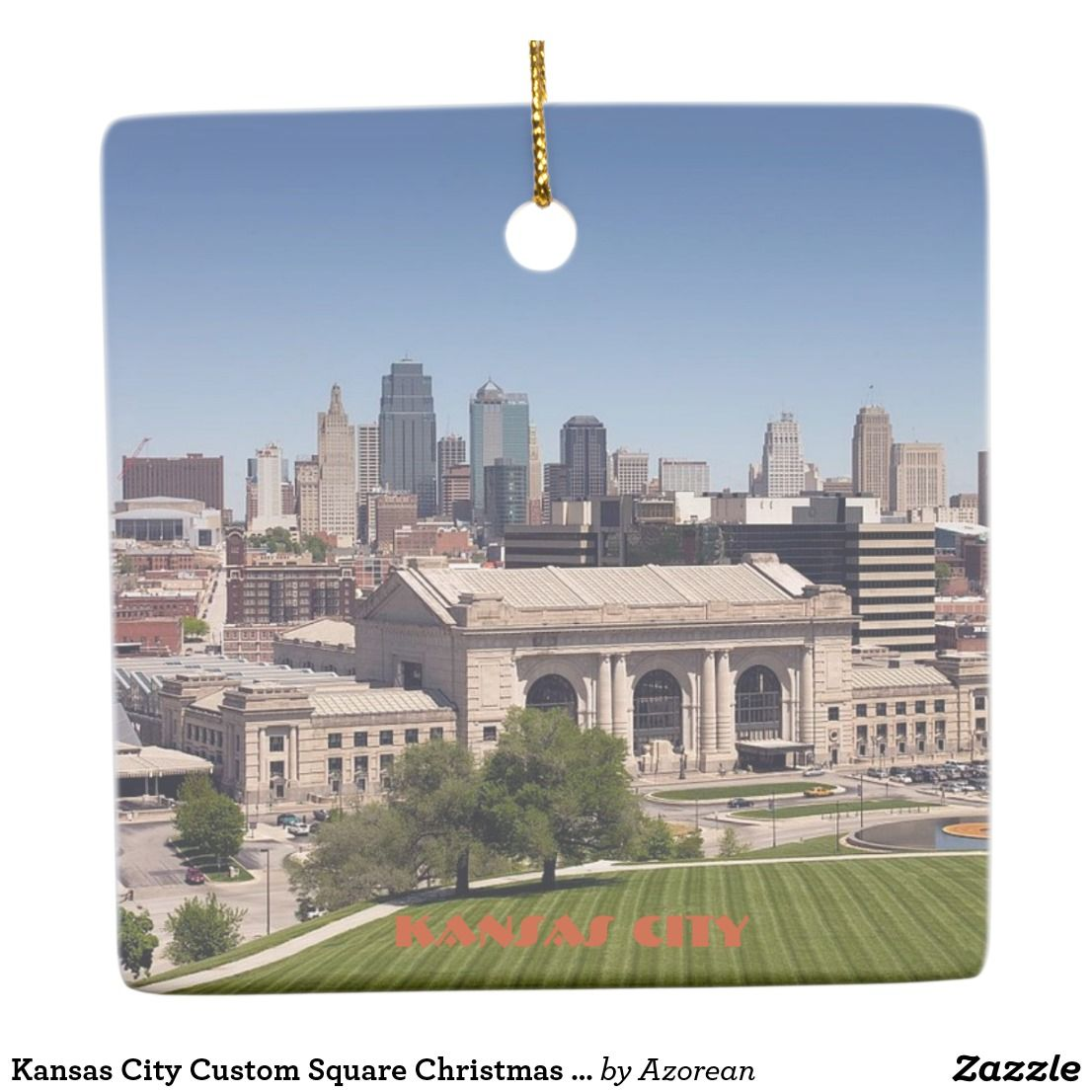 Kansas City Custom Square Christmas Ornament
