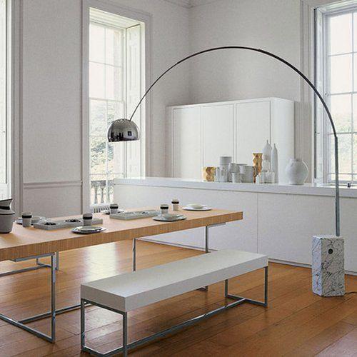 achille castiglioni bogenleuchte in wei design h nnun tisch esszimmer lampen. Black Bedroom Furniture Sets. Home Design Ideas