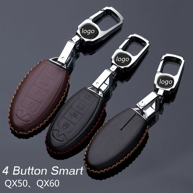 Genuine Leather Car Keychain Key Fob Case Cover For Infiniti Buttons Smart Holder Auto Accessories