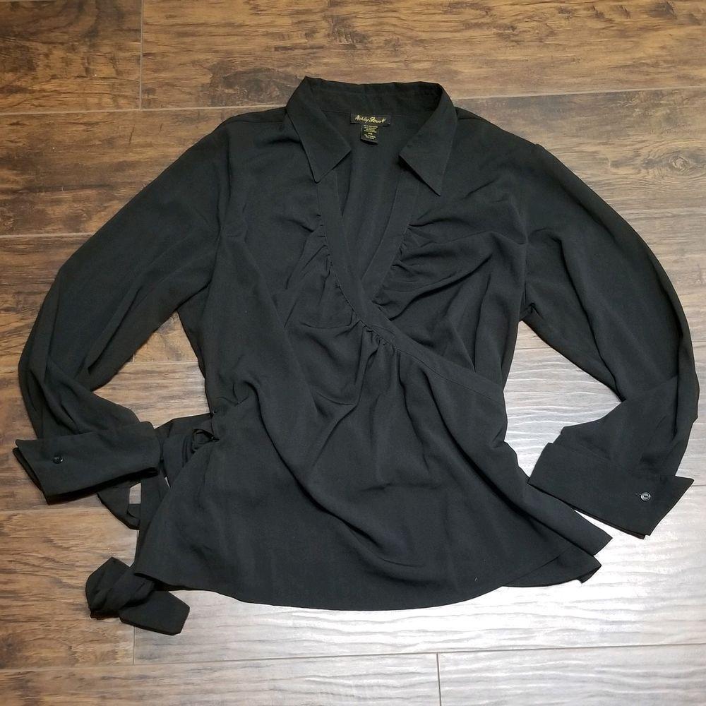 995bfd235fbc90 Ashley Stewart Wrap Top Size 20 Plus Size 2x Black Blouse Long Sleeves # AshleyStewart #Blouse #Casual
