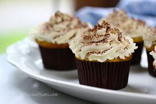 Tiramisu Cupcakes with marcarpone frosting.  Tiramisu - my ultimate guilty pleasure.