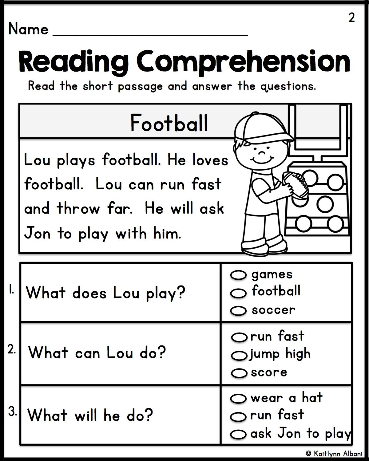Kindergarten Reading Comprehension Passages Set 1 Reading