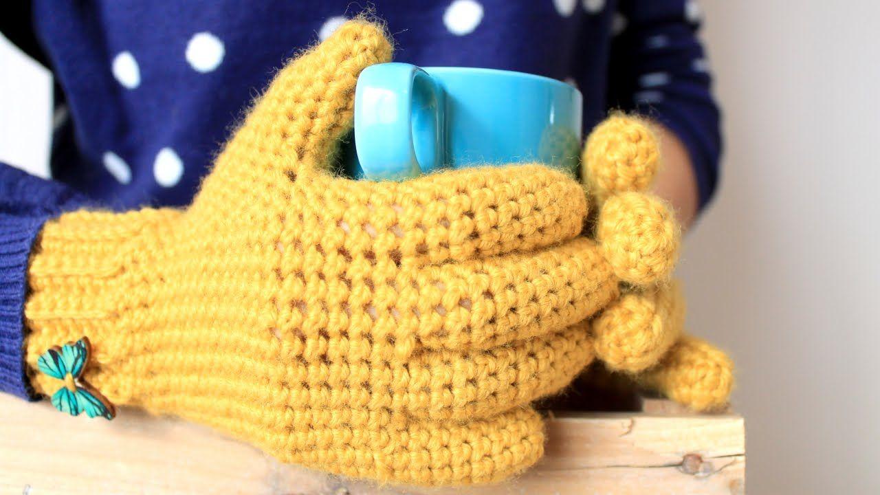 Por fin! GUANTES con dedos a crochet o ganchillo. Video tutorial ...