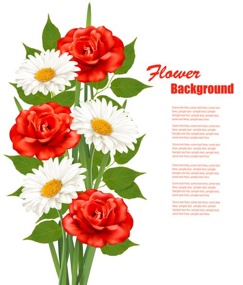 Red And White Flowers Background Vectors