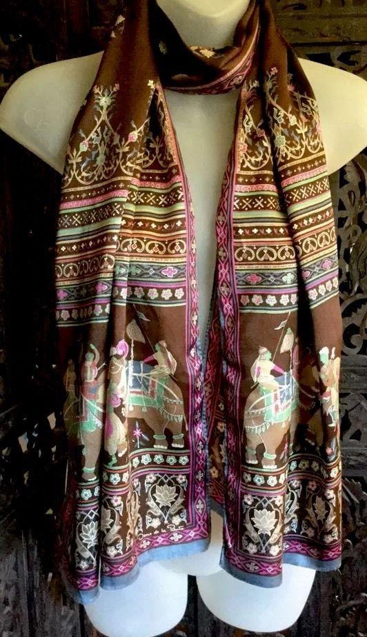 Oscar de la Renta Silk Scarf Royal Elephants Multi Color Fringe 16 X 64 Long VTG  | eBay