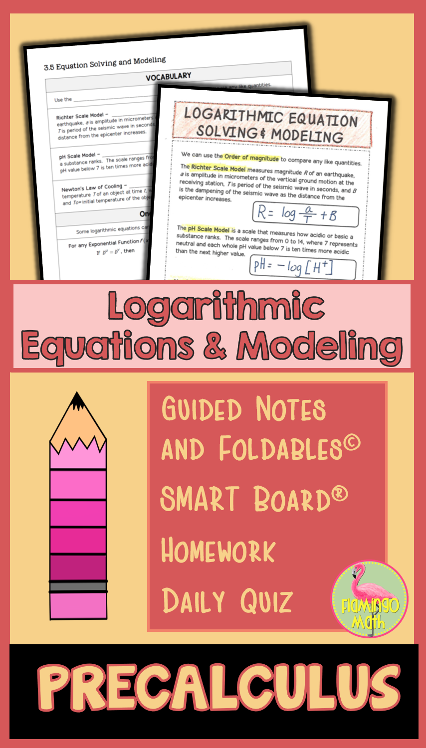 Logarithmic Equation Solving and Modeling (PreCalculus