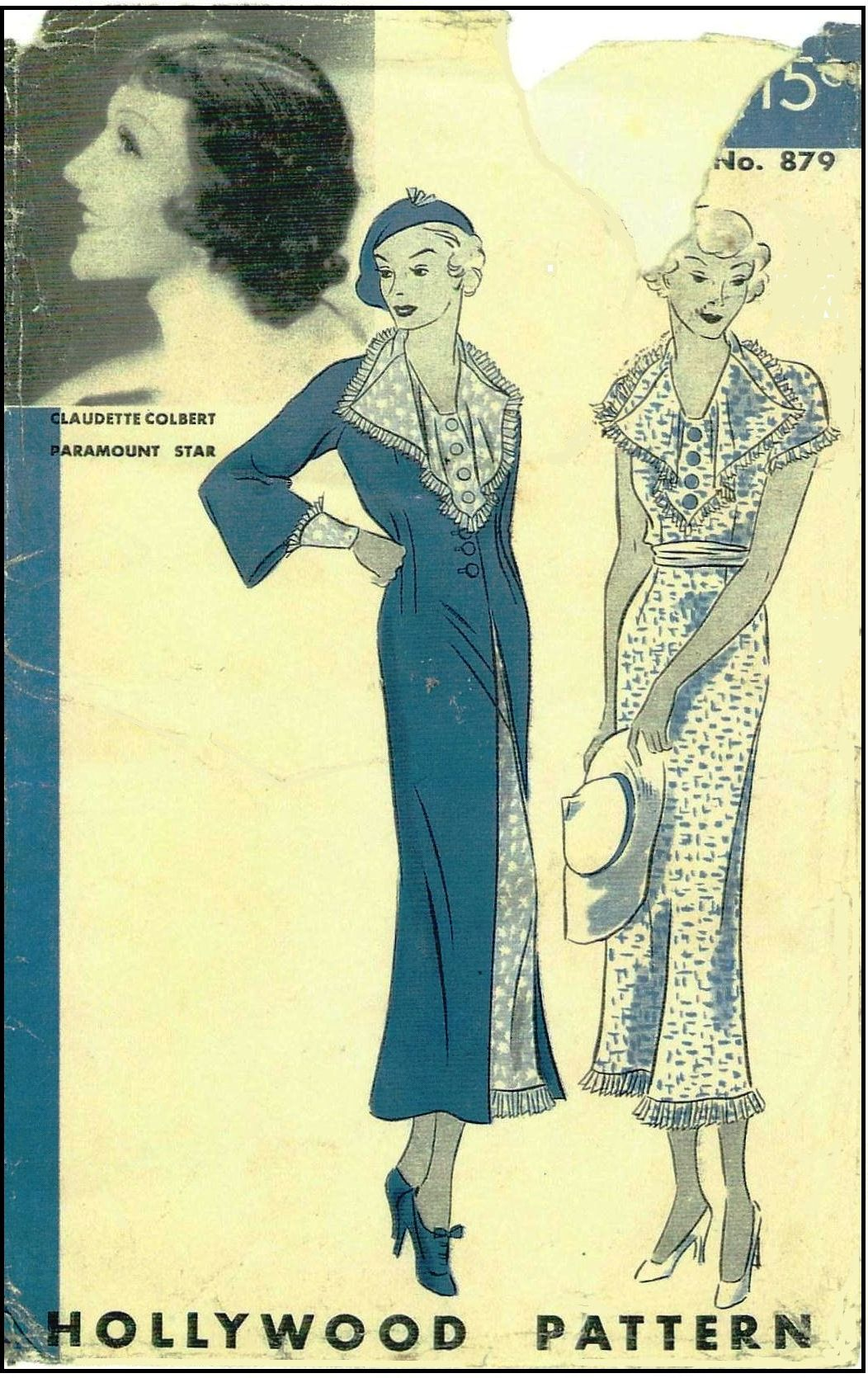 1930s Ladies Dress and Jacket Sewing Pattern - Claudette Colbert for Hollywood Pattern #879