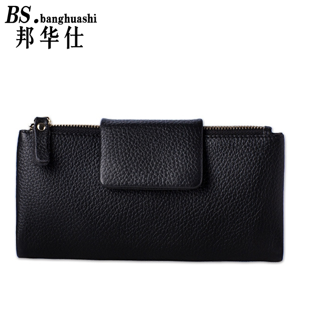 64.71$  Buy here - http://alig6h.worldwells.pw/go.php?t=32769587201 - Ms. Wallet Leather Long Section of the Korean Version of The First Layer of Leather Wallet Double Zipper Purse Wallet 64.71$