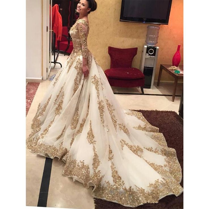 White and gold wedding dress 2018