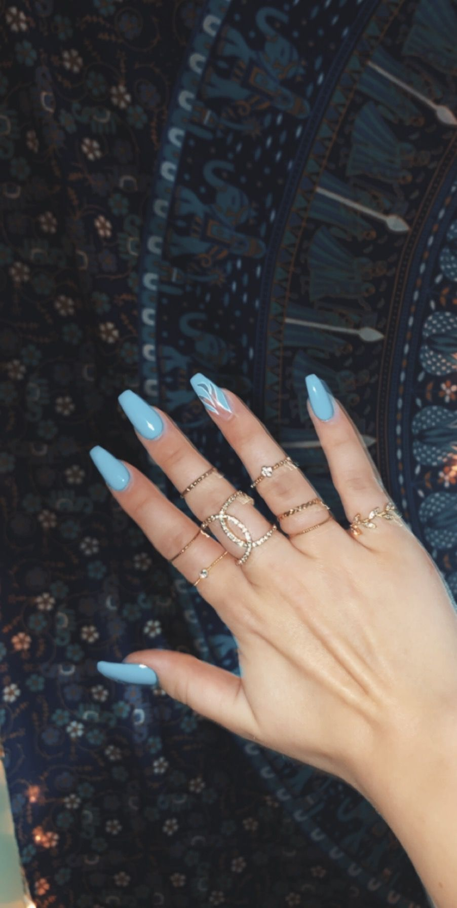 Blue Flame Acrylic Nails In 2020 Acrylic Nails Coffin Short Blue Acrylic Nails Coffin Shape Nails