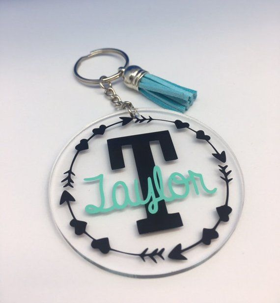 Monogram acrylic keychain with tassel, customize, customize colors, gift idea, personalized, gift fo