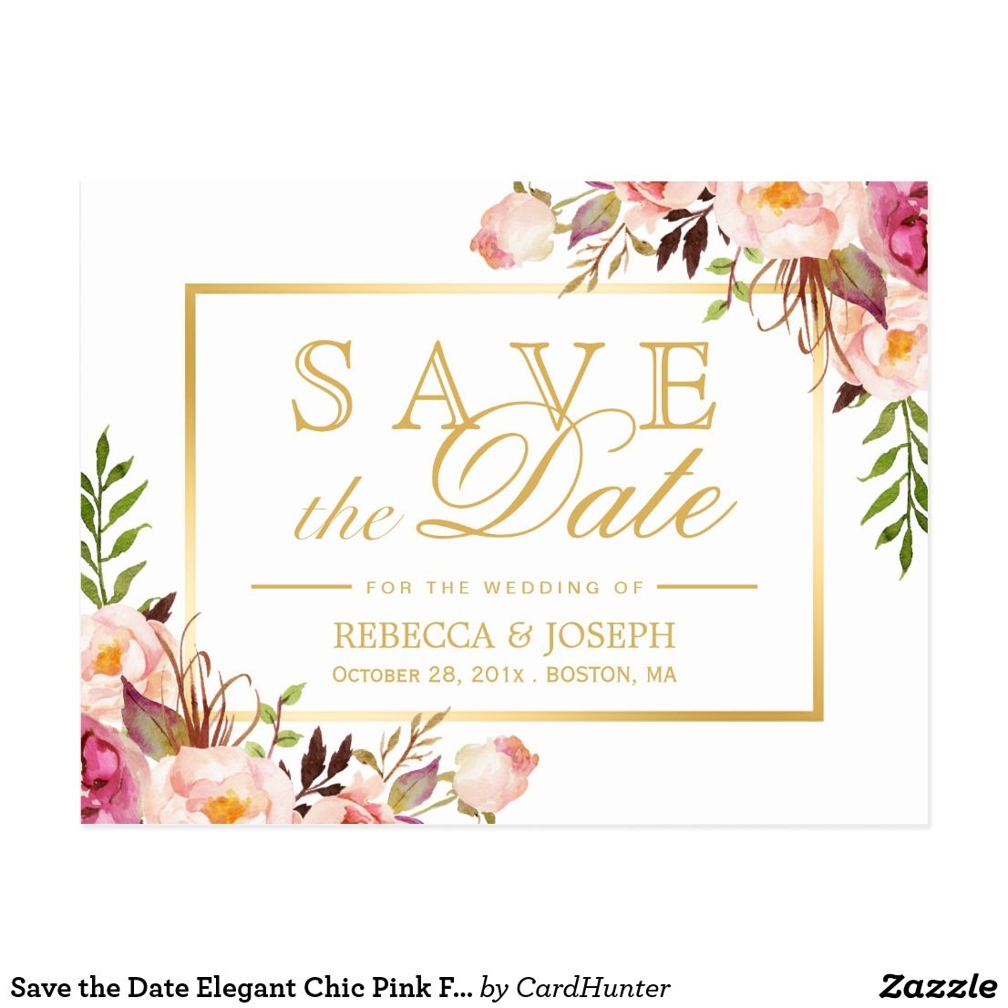 save the date elegant chic pink floral gold frame announcement