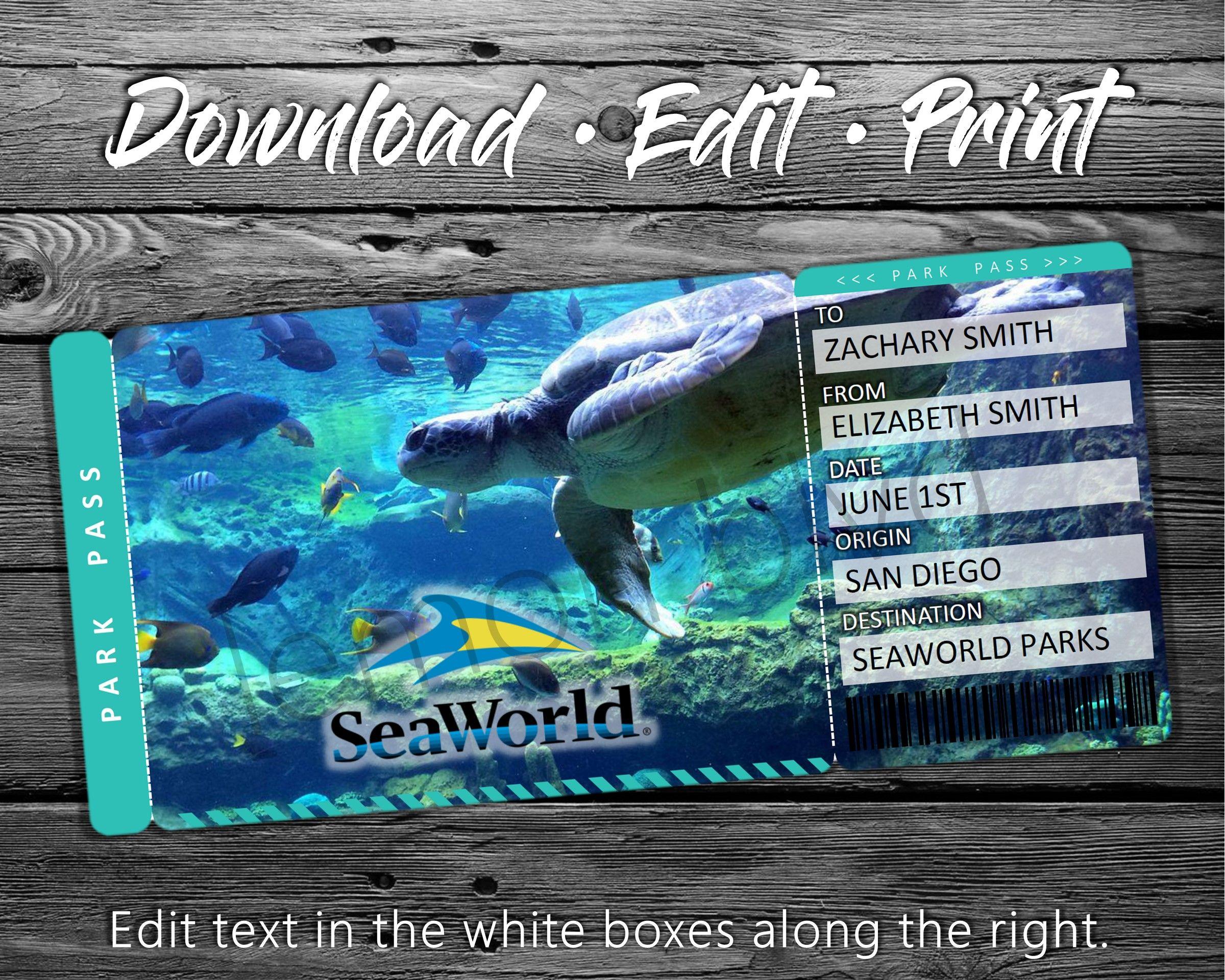 Seaworld Trip Tickets Printable Seaworld Ticket Digital Etsy Surprise Vacation Sea World Surprise Trip Reveal