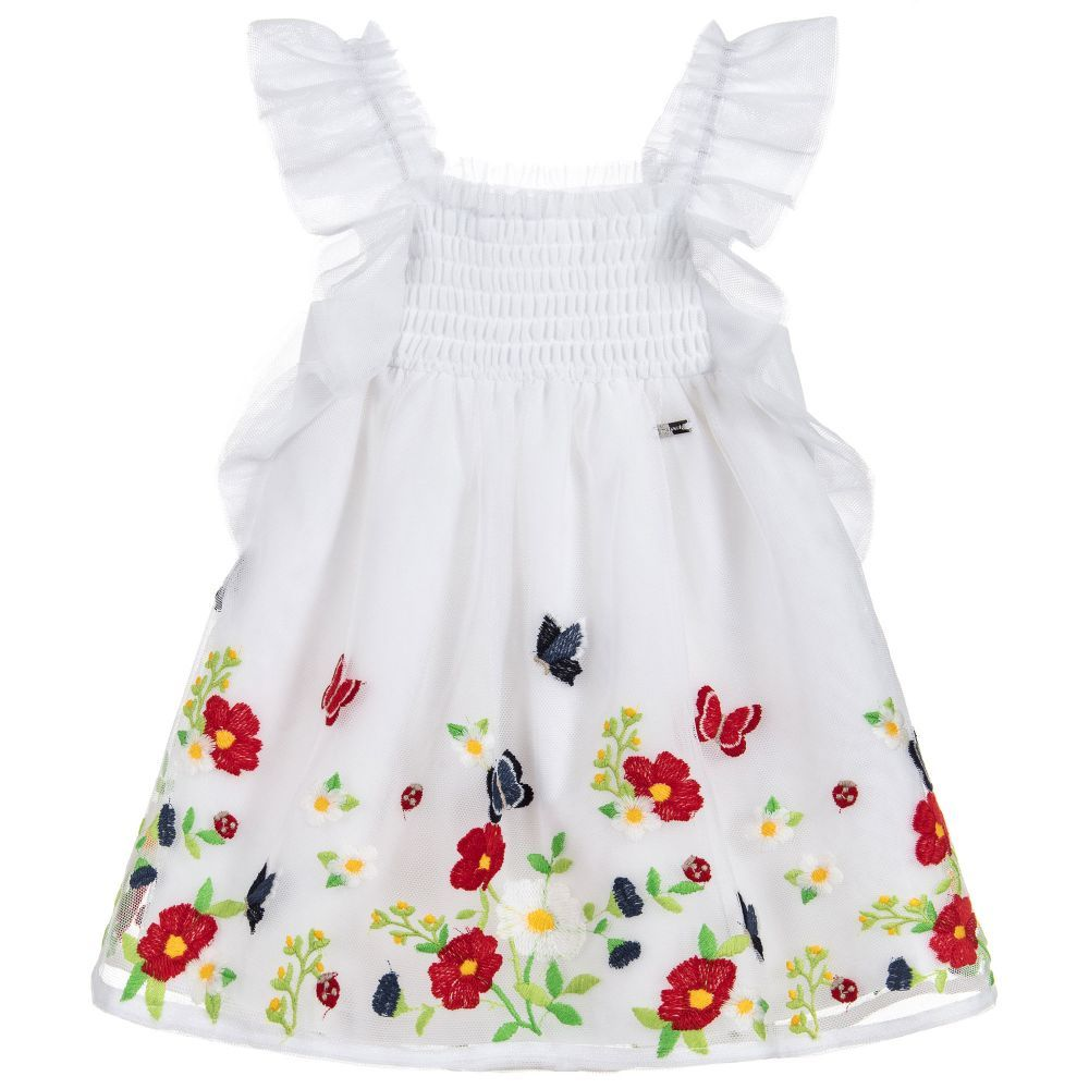 6e24c3e4922 White Embroidered Tulle Dress for Girl by Mayoral. Discover more beautiful  designer Dresses for kids online at Childrensalon.co.