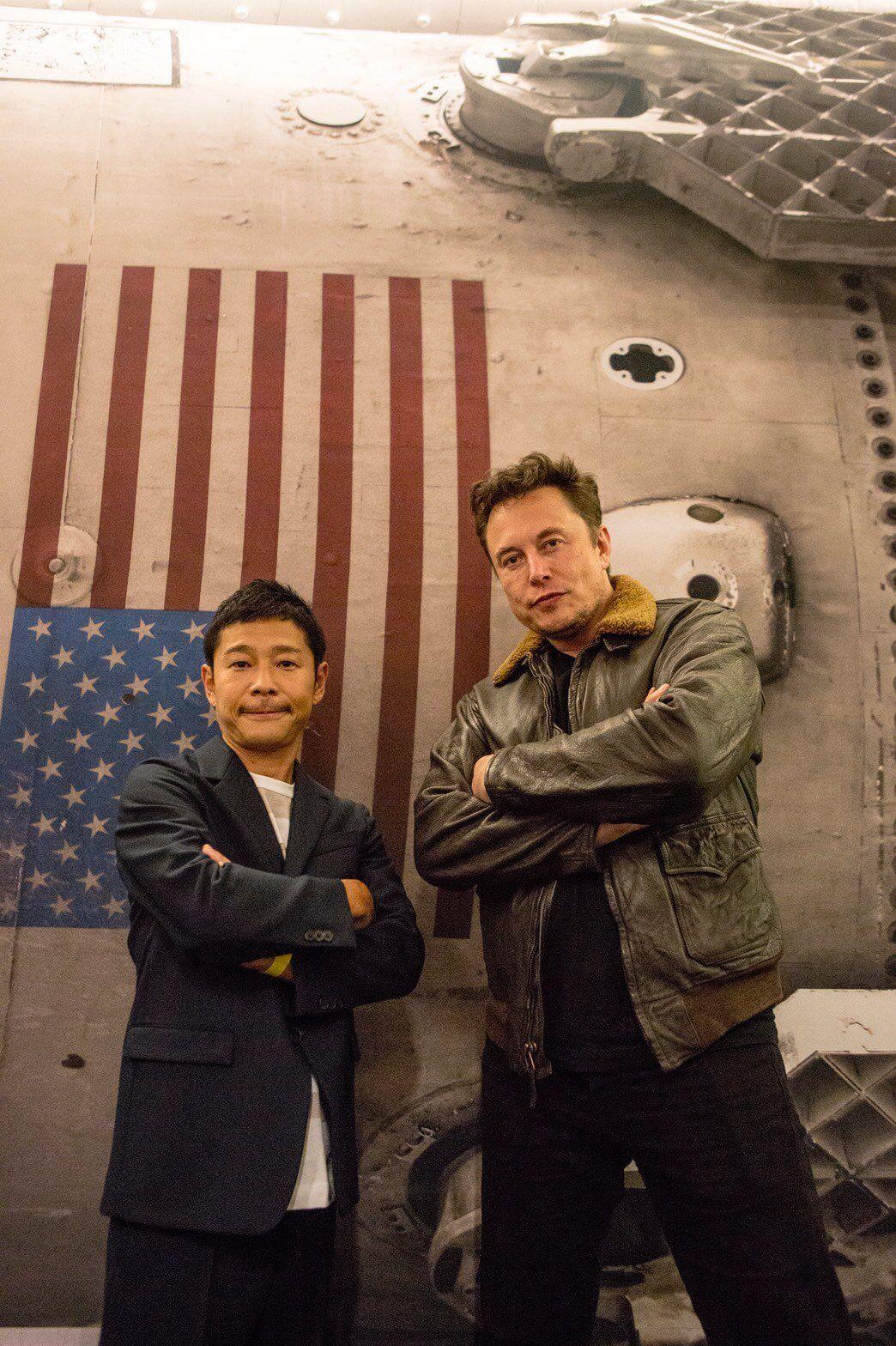 Elon Musk and the Japanese billionaire Yusaku Maezawa who's going to