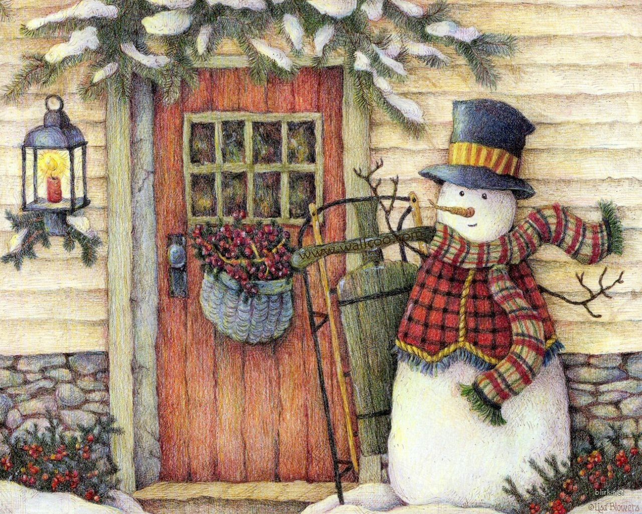 Folksy snowman illustrations drawings pinterest for Pinturas navidenas