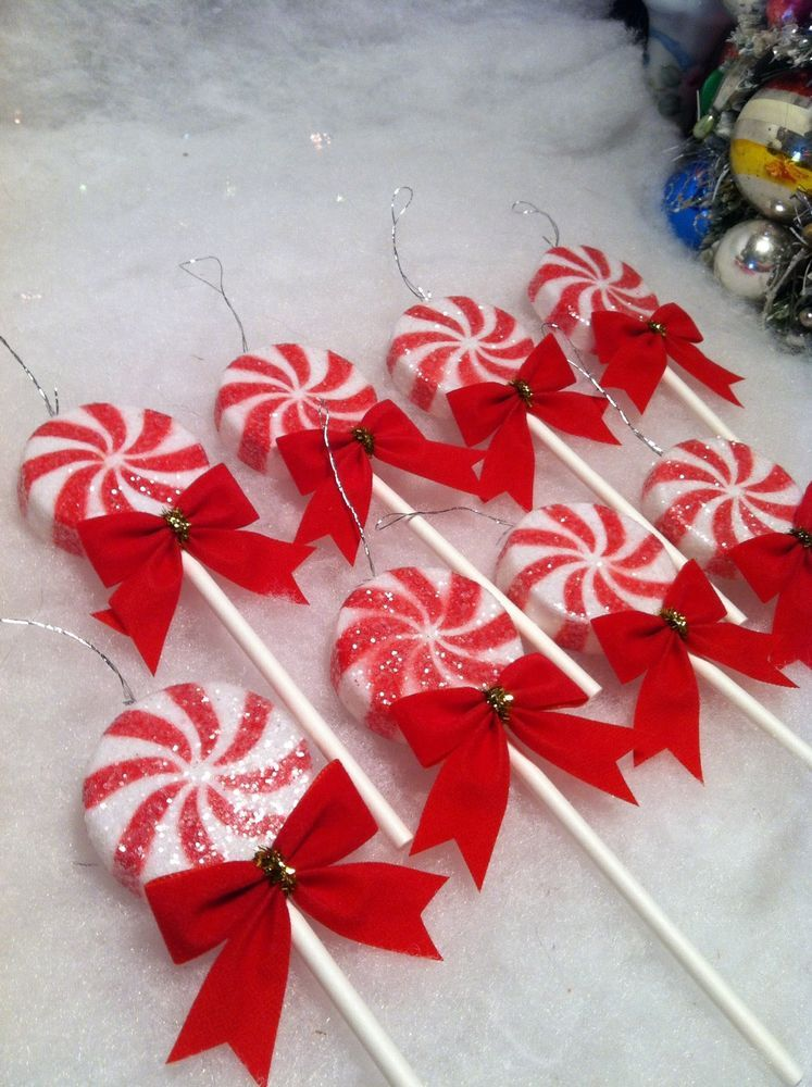 Red White Peppermint Lollipop Christmas Tree Ornaments 8