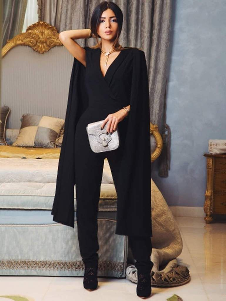 78223d7953ef Cape Sleeve Surplice Wrap Tailored Jumpsuit in 2019