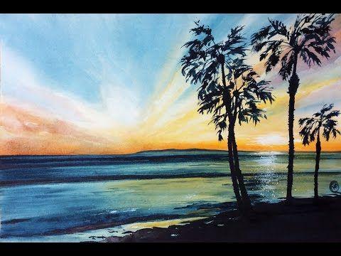 Watercolor California Coast Sunset Painting Demonstration Watercolor Ocean Sunset Painting Watercolor Sunrise