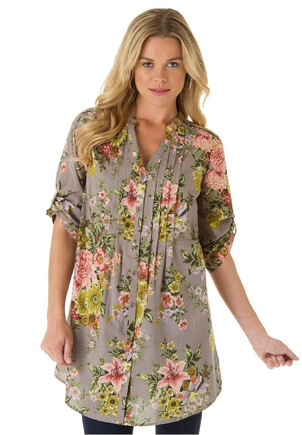 a461b10b1edac Roamans Women s Plus Size English Floral Bigshirt at Amazon Women s Clothing  store  Tops And Blouses