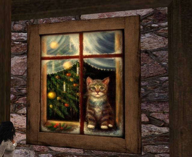 """Christmas Cat "" Original Oilpainting boxed"