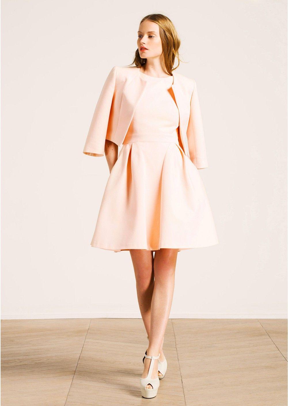 veste bol ro sans col et robe en ottoman rose femme tara jarmon 3 wedding guest veste. Black Bedroom Furniture Sets. Home Design Ideas