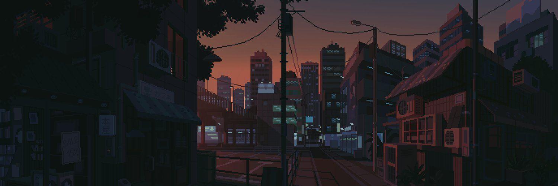 Waneella On Twitter Pixel Art Anime Pixel Art Pixel City Aesthetic anime background gif hd