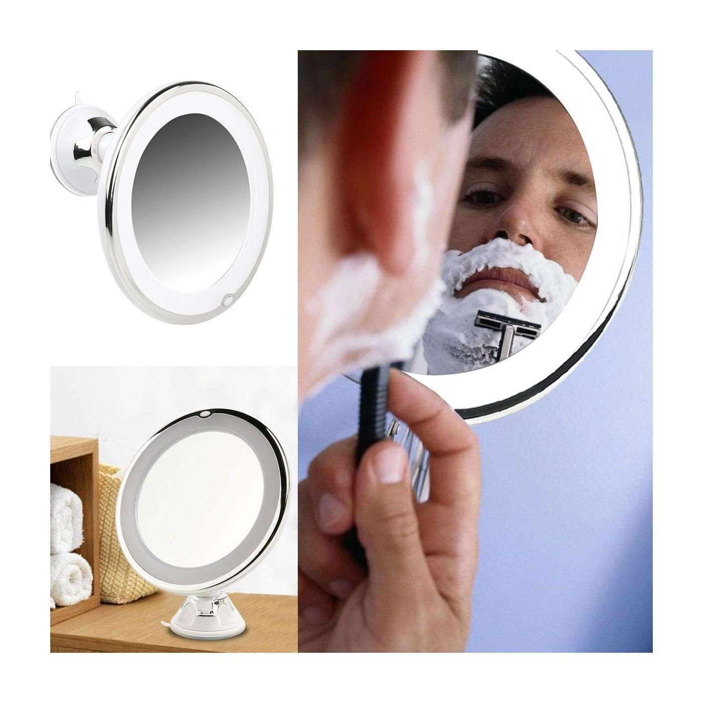 7inch LED Lighted Makeup Wall Mount 7x Magnifying Bathroom