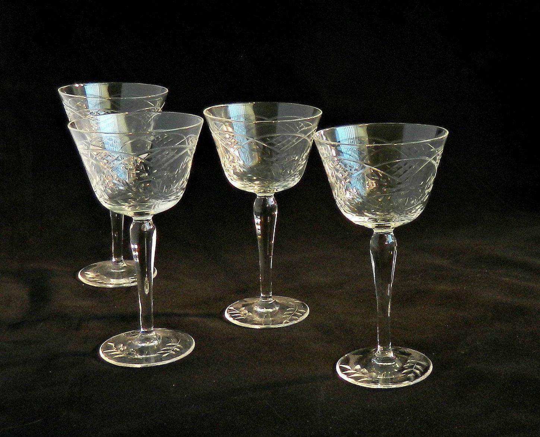 Antique Etched Crystal Aperitif Glasses Vintage Art Deco Cordials Set 1920s Aperitif Glasses Set By Retrogroov Vintage Glassware Antiques Aperitif Glasses