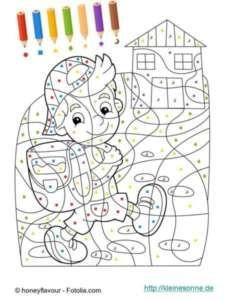 Malen Nach Zahlen Für Kinder Kind Und Haus Color By Number