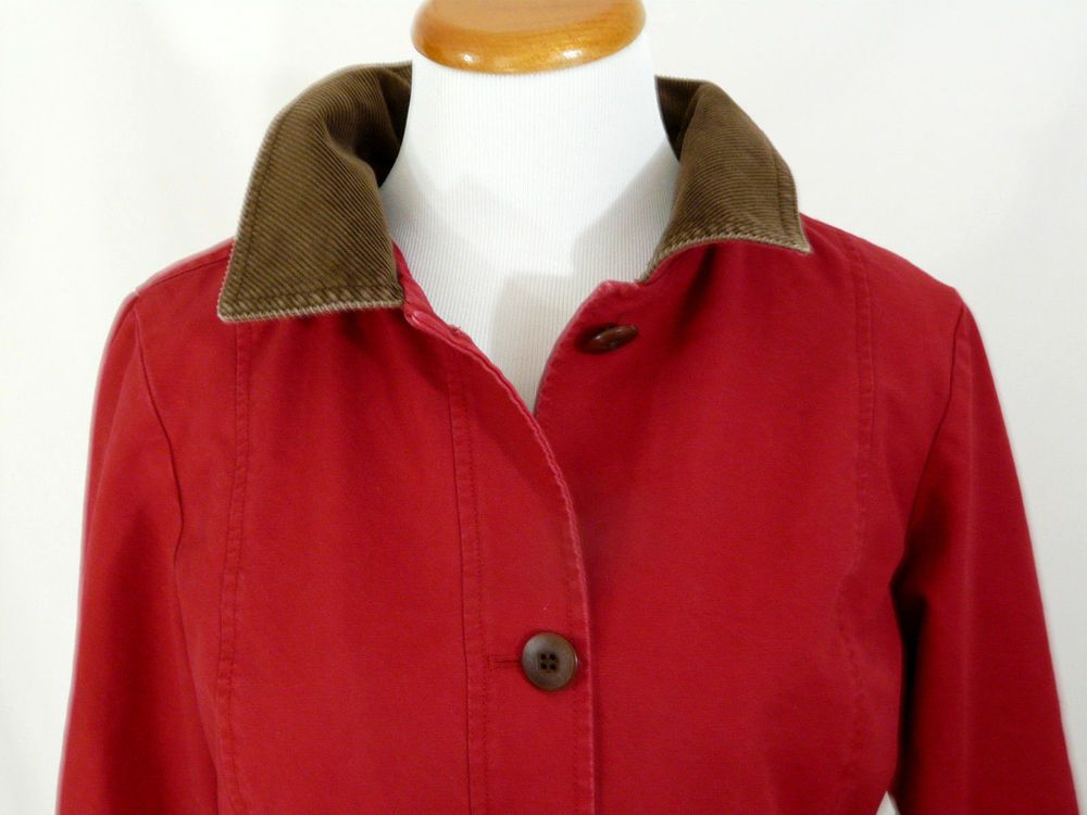 Vintage LL Bean Red Barn Coat Cotton Canvas Plaid Flannel Lining ...
