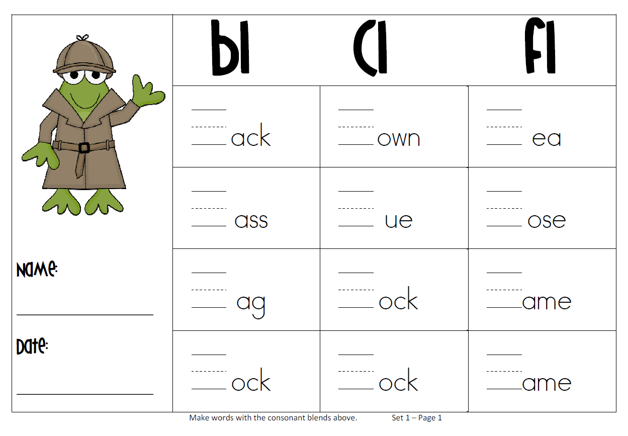 worksheet Blends Worksheets For Grade 1 consonant blends worksheets english pinterest worksheets