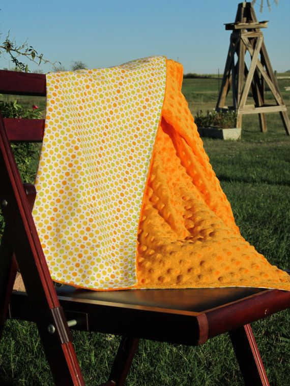 Baby Blanket Orange Minky Dot with Yellow Orange by LilBitsofSugar, $36.00