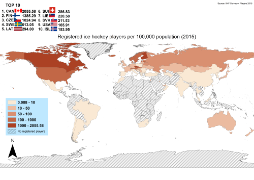 - Registered ice hockey players per 100000 population.More ice...