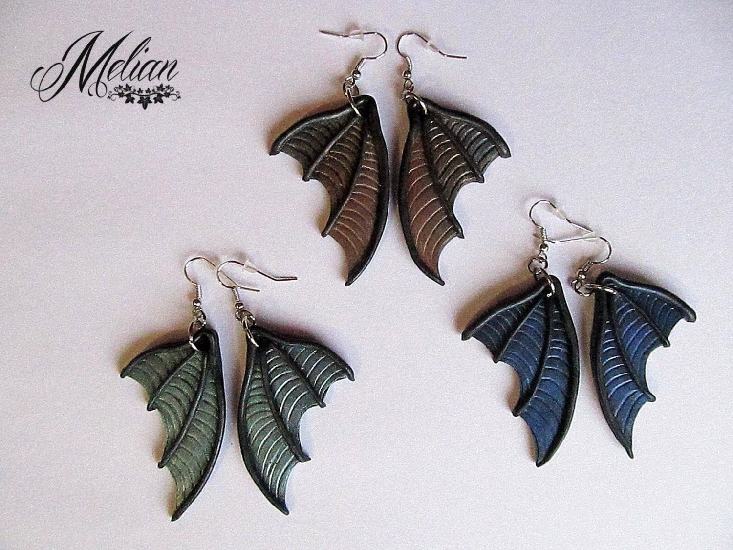 Bat wing earrings, dragon wing earrings, wing earrings ... - photo#2