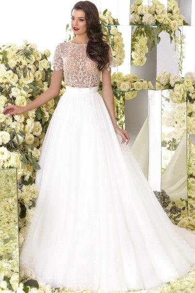 Beaded Wedding Dresses Short Sleeve Wedding Dress Cheap Jewel ...