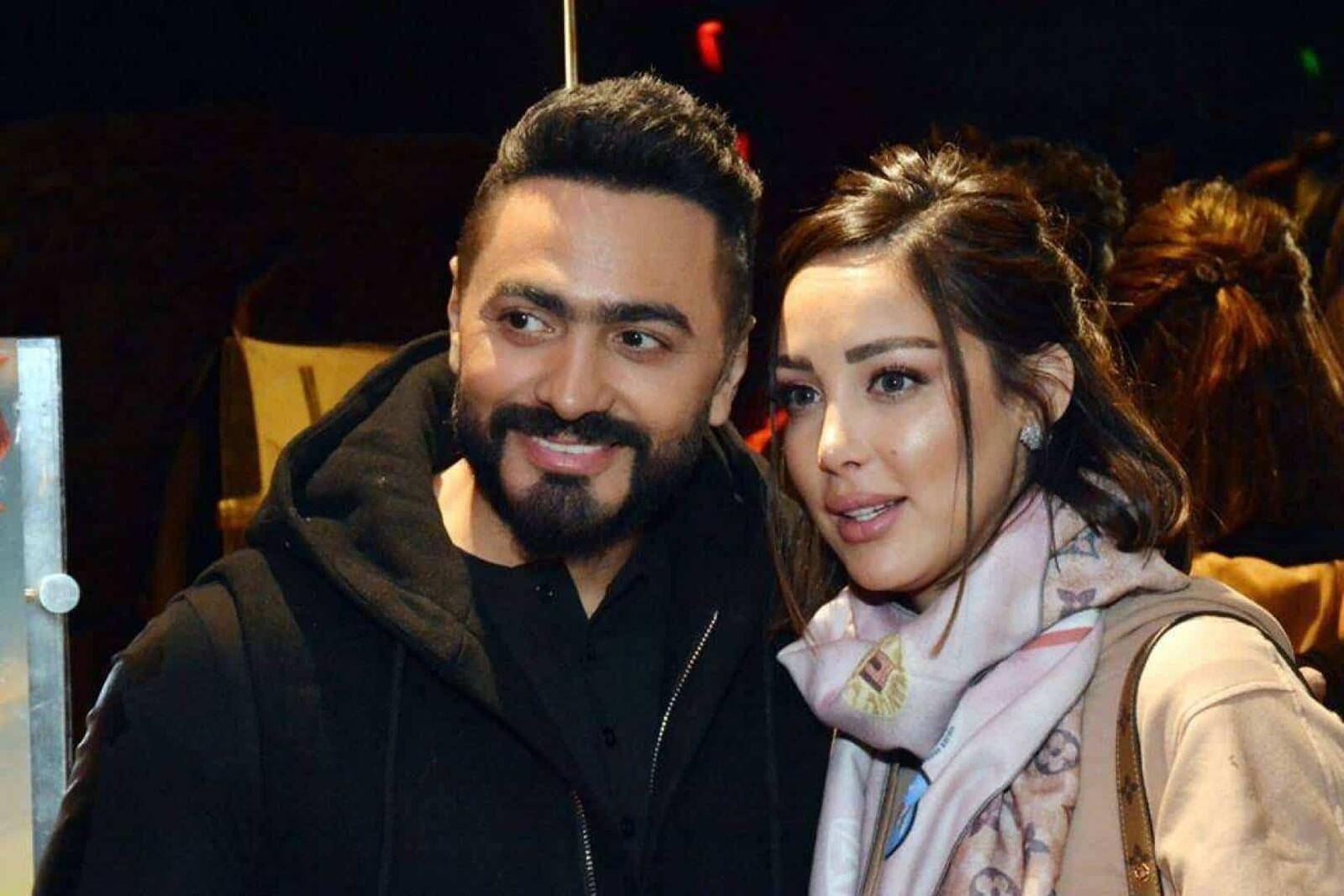 رقصة رومانسية تجمع تامر حسني وزوجته بسمة بوسيل Singer Divorce My Love