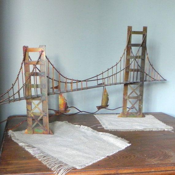 Vintage Golden Gate Bridge Copper Metal Wall Sculpture With