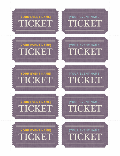 Basic tickets 10 per page Templates Free on line – Ticket Template Free