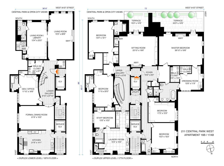 Corcoran 211 Central Park West Apt 16b 17ab Upper West Side Real Estate Manhat Penthouse Apartment Floor Plan Architectural Floor Plans Luxury House Plans