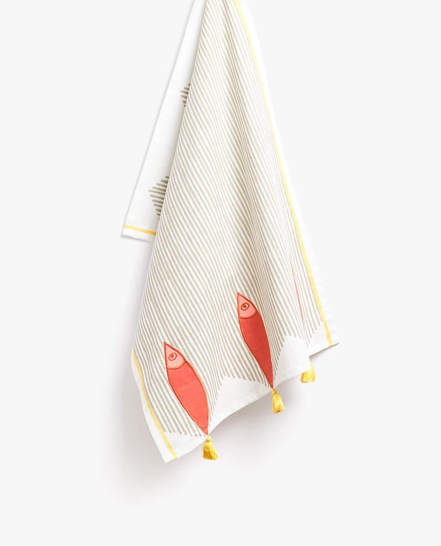 Fish And Pompom Cotton Tea Towel Cotton Tea Towels Tea Towels