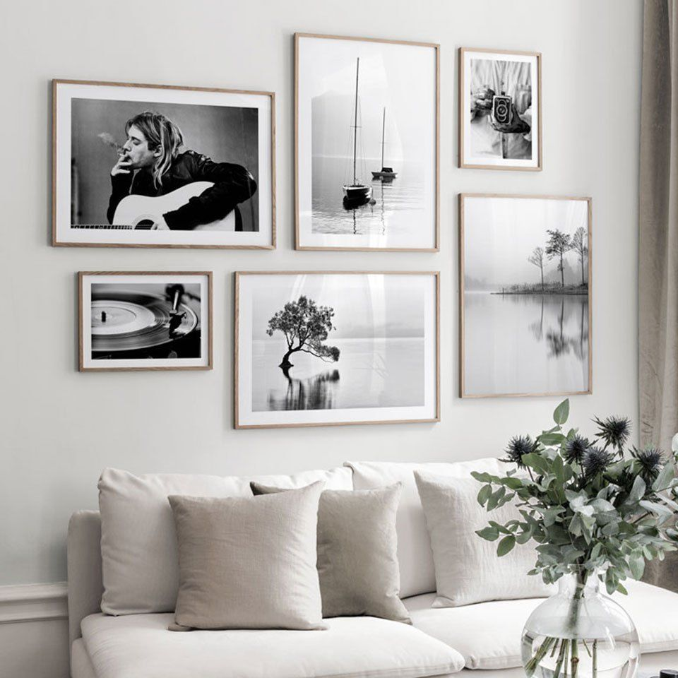 Painting Canvas Art Modern Nordic Poster Black And White Plant Photography Large Abstract Wall Prints For Living Room Home Decor In 2020 Living Room Art Prints Wall Decor Living Room Modern #white #wall #decorations #living #room