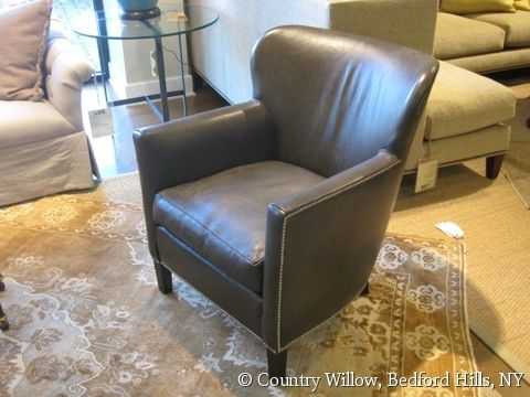 Best Gray Leather Accent Chair With Nail Heads Country Willow 400 x 300