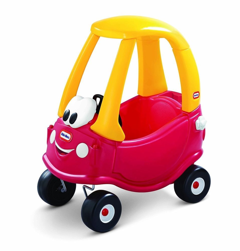childrens push car red yellow toy coupe toddler indoor outdoor