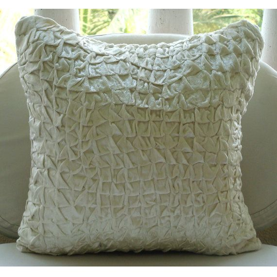 Snow Soft Throw Pillow Covers 18x18 Inches by TheHomeCentric